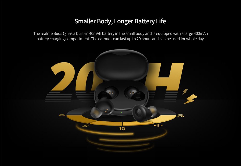 realme Buds Q Bluetooth 5.0 Wireless Earbuds Battery