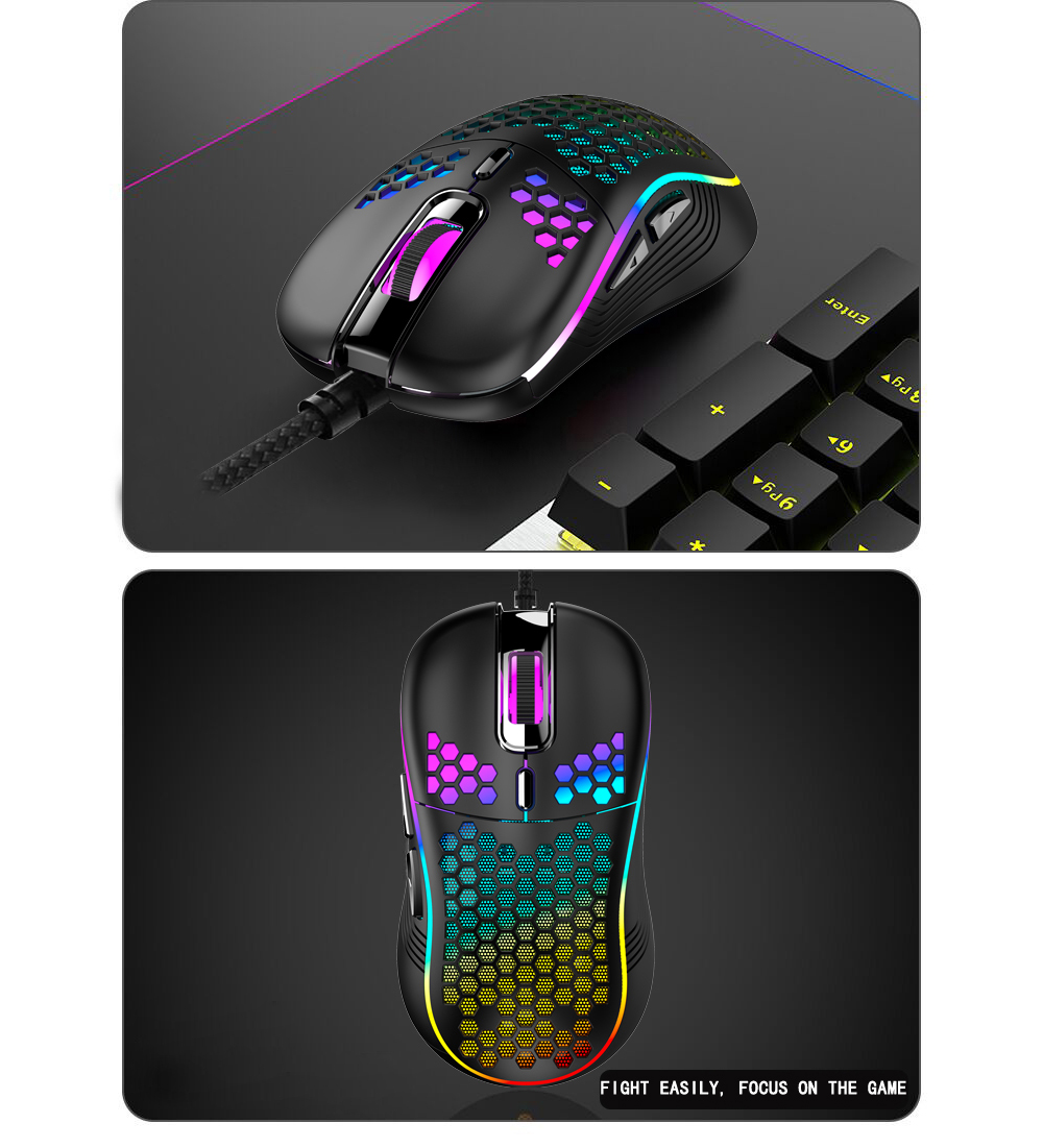 Hollow Lightweight USB Wired Gaming Mouse - Black