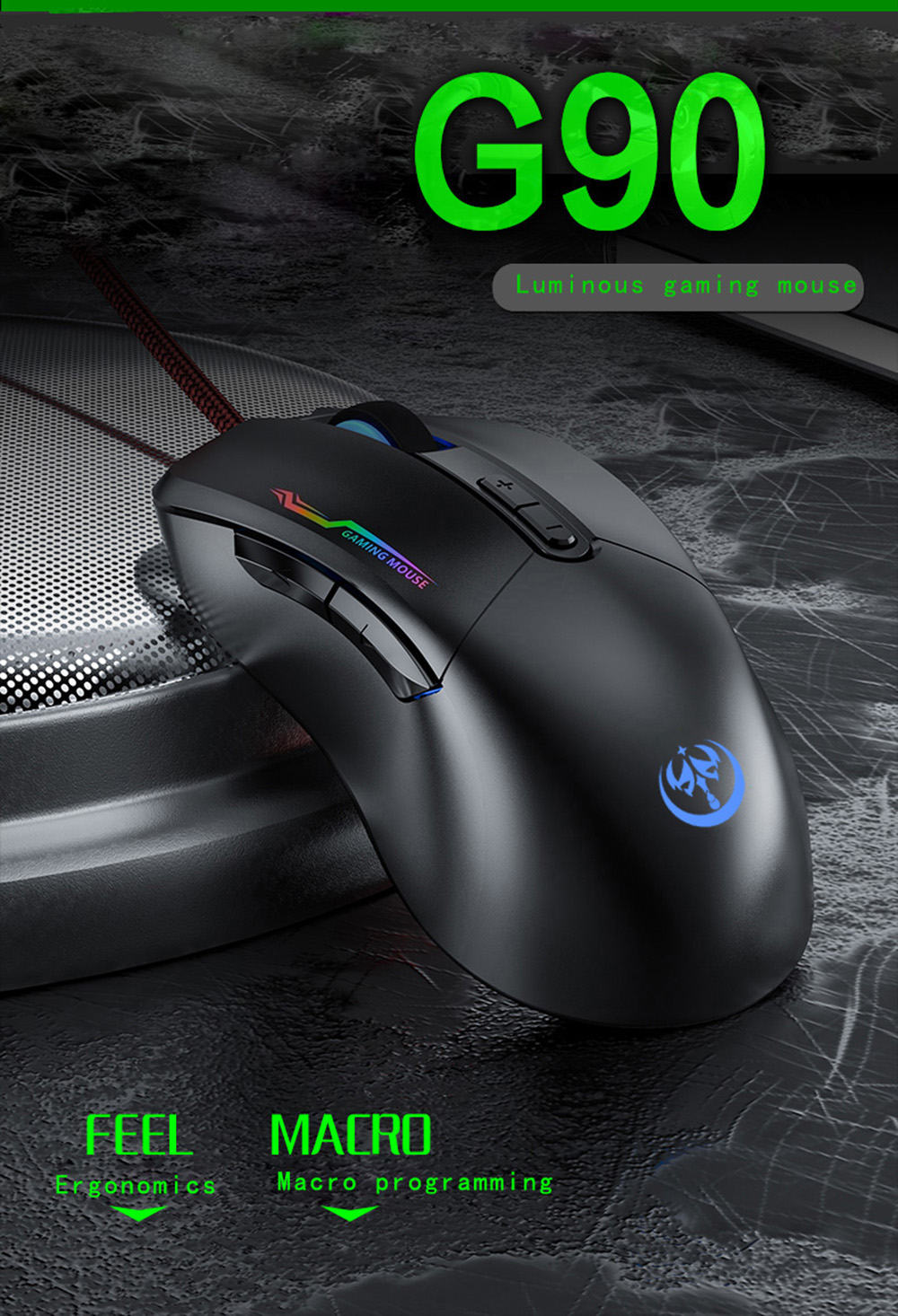 G90 USB Wired Gaming Mouse - Black