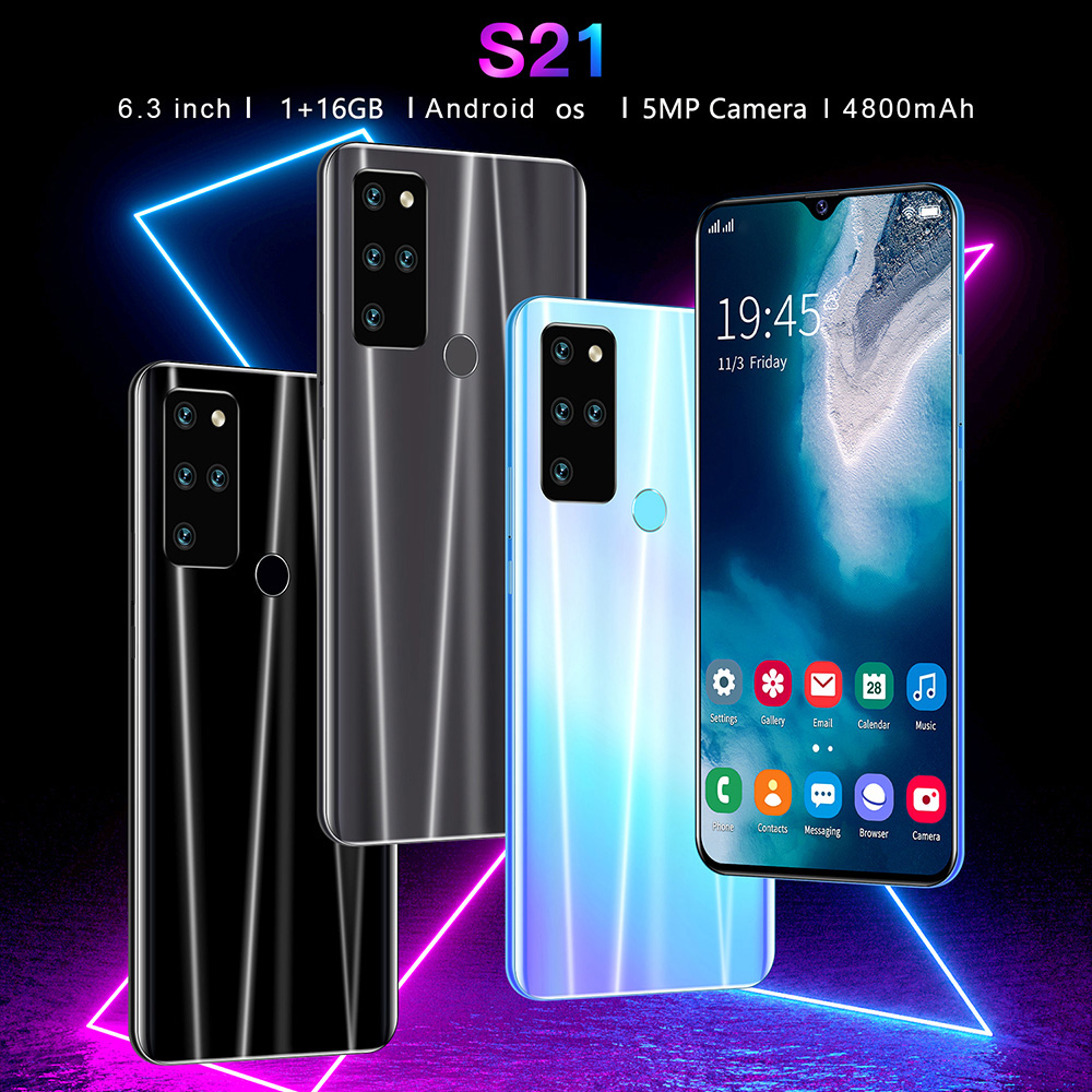 S21 Smartphone MTK6735 OCTA CORE 6.3 Inch 1GB RAM 16GB ROM Android OS 2MP 5MP Cameras 4800mah Battery Face ID FingerPrint Recognition - Gray UK Plug