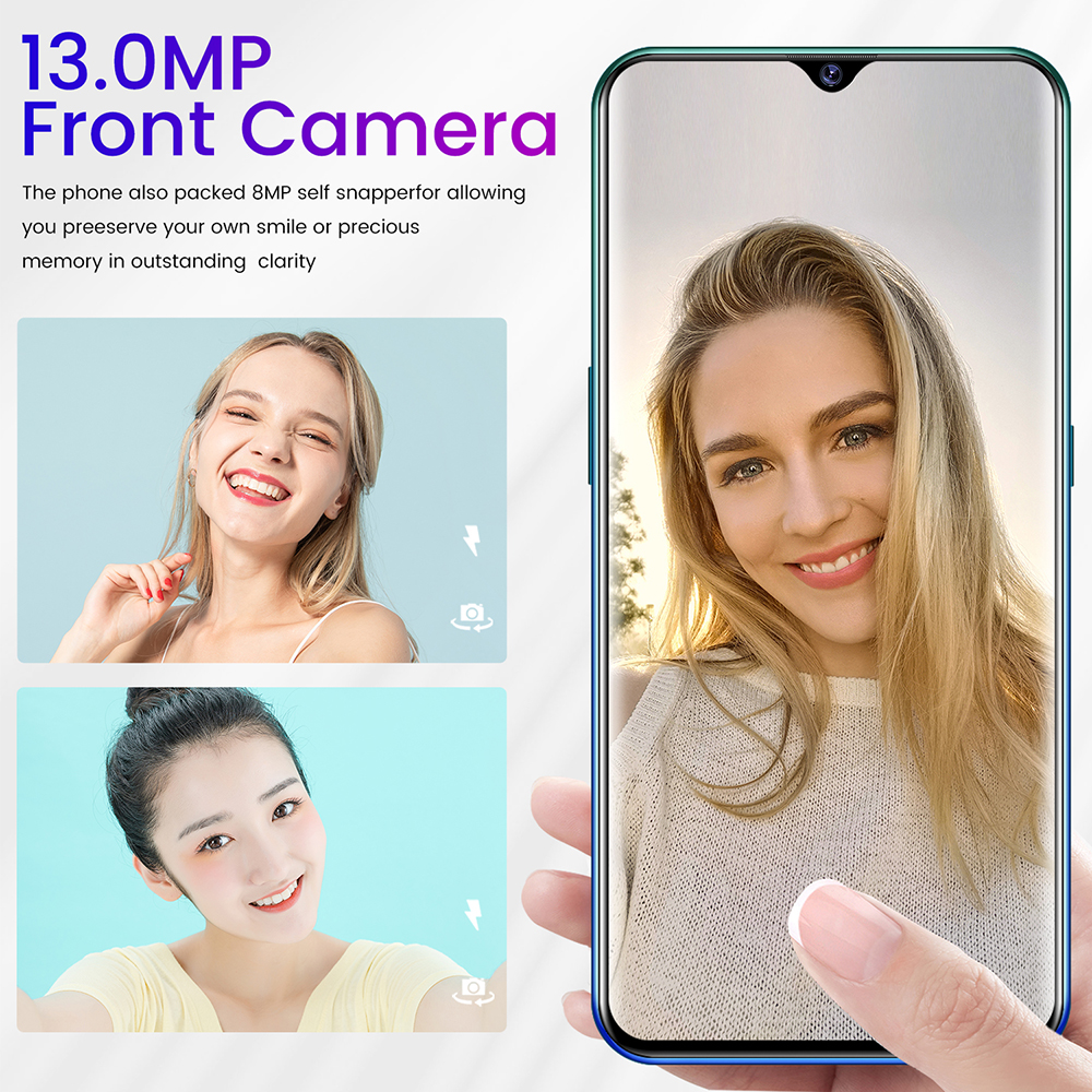 P47 Smartphone MTK6792 6.7 Inch 2GB RAM 32GB ROM Android 6.0 13MP 24MP Cameras 4800mah Battery Face ID - Blue US Plug (2-pin)