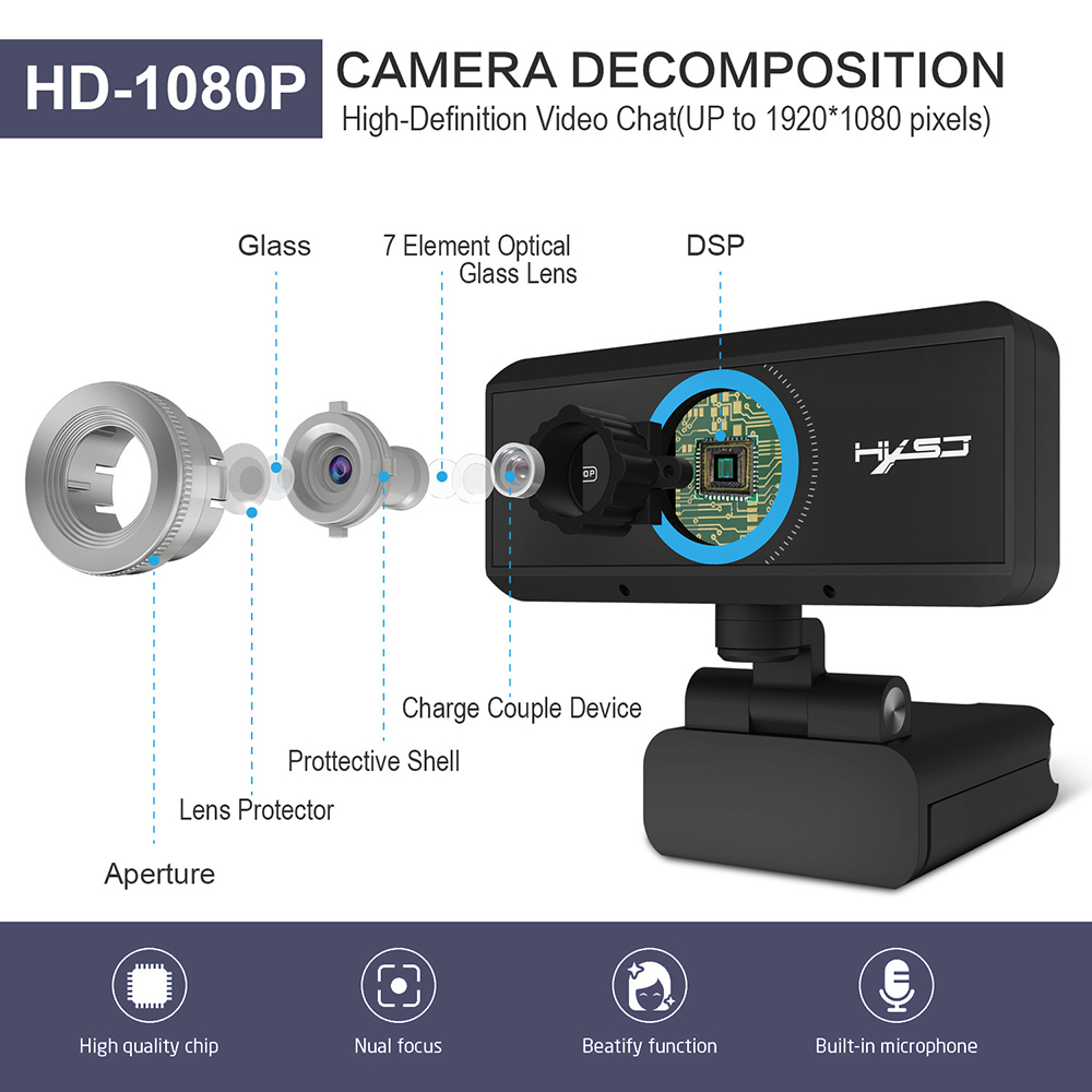 HXSJ Webcam 1080P Manual Focus Computer Camera Head 360 Degree Rotatable Video Conferencing Camera Network Class Live Broadcast - Black 720p版本