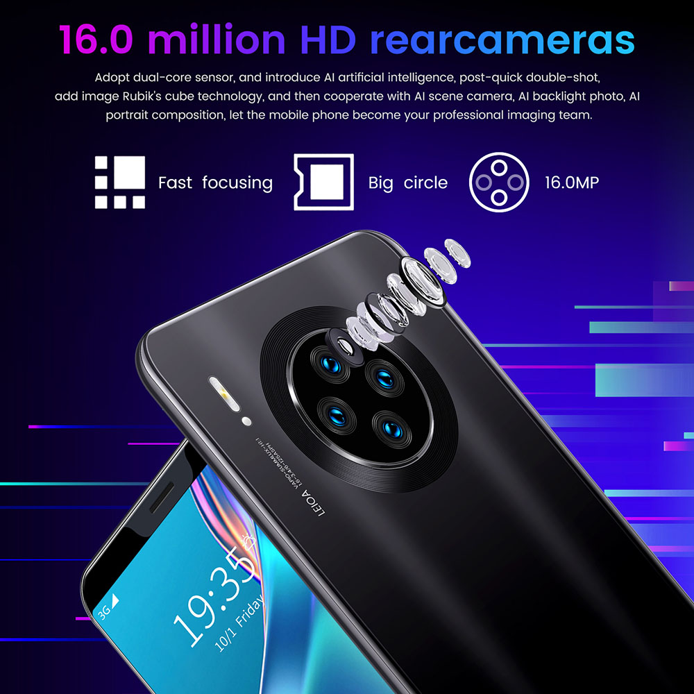Mate33 Pro Smartphone MTK6763 6.1 Inch 2GB RAM 16GB ROM Android 9.1 8MP 16MP Cameras 3800mah Battery Face ID FingerPrint Recognition - Green US Plug (2-pin)