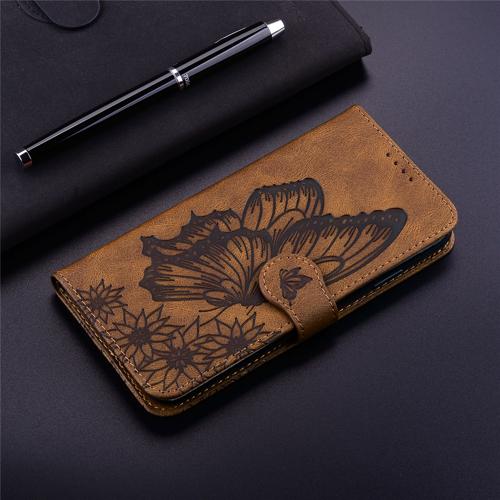 Butterfly Wallet Leather Case For Samsung Galaxy A12 5G Cover Luxury Flip Case - Red