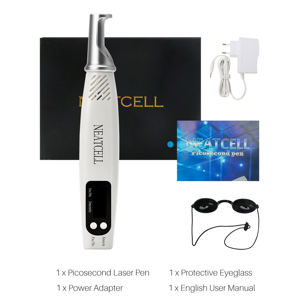 Handheld Picosecond Pen Laser Eyebrow Washing Pencil Tattoo Removal and Spot Scanning Red / Blue Light Picosecond Beauty Apparatus - Red US Plug (2-pin)