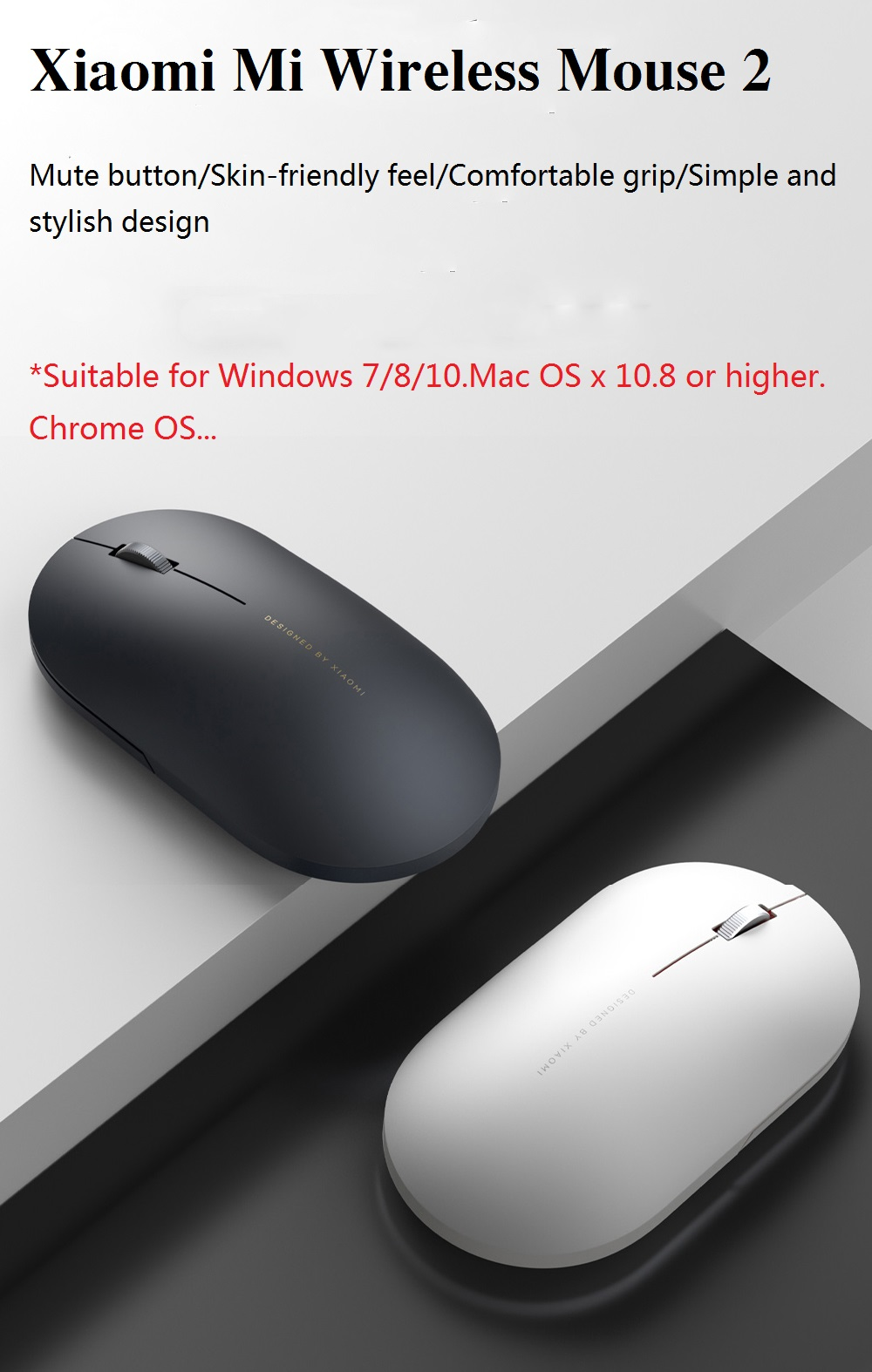 XIAMI XMWS002TM 2.4GHz Wireless 1000DPI Portable Distant Shaped Mouse For PC Computer Tablet Laptops - White