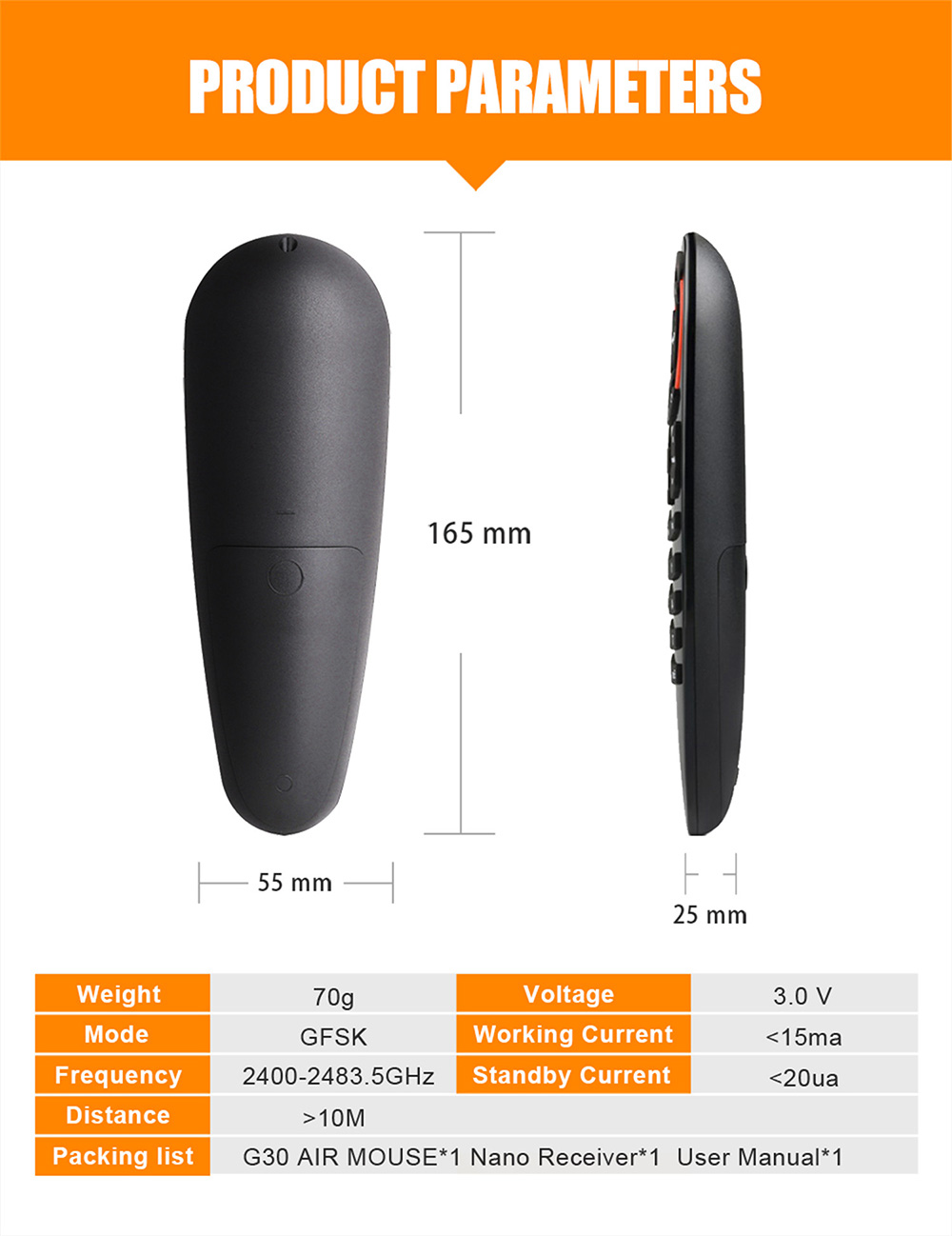 G30 Air Mouse 2.4G Wireless Mouse Infrared Control Android Top Box Projection Intelligent Remote Control - Black