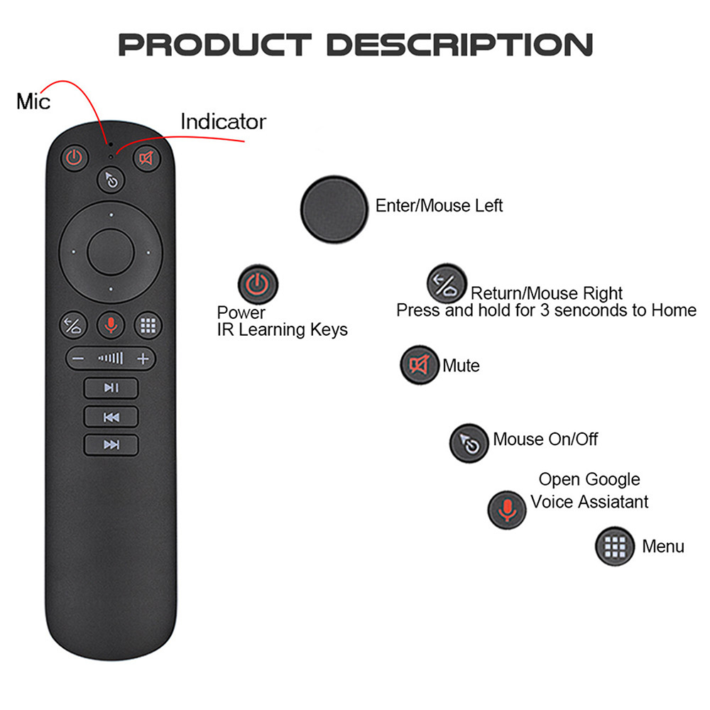 G50S Air Mouse 2.4G Wireless Transmission 6 Axis Gyroscope Google Voice Control USB Smart Remote Control - Black