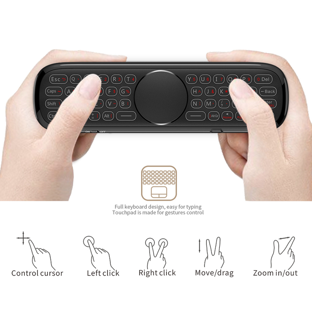 W2PRO Air Mouse Remote Control Keyboard Backlight Google Voice Gyroscope Touchpad Mouse - Black