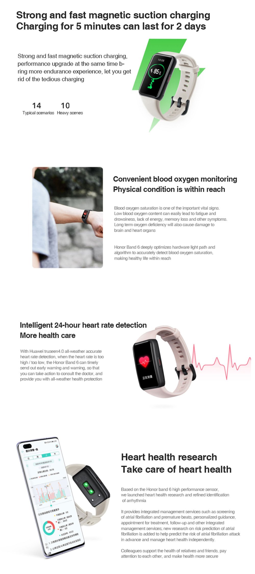 Honor Band 6 Smart Wristband 1.47 Inch Amoled Touch Screen Professional Sports Fitness Tracker Heart Rate Blood Oxygen Monitor Long Standby Smart Watch - White