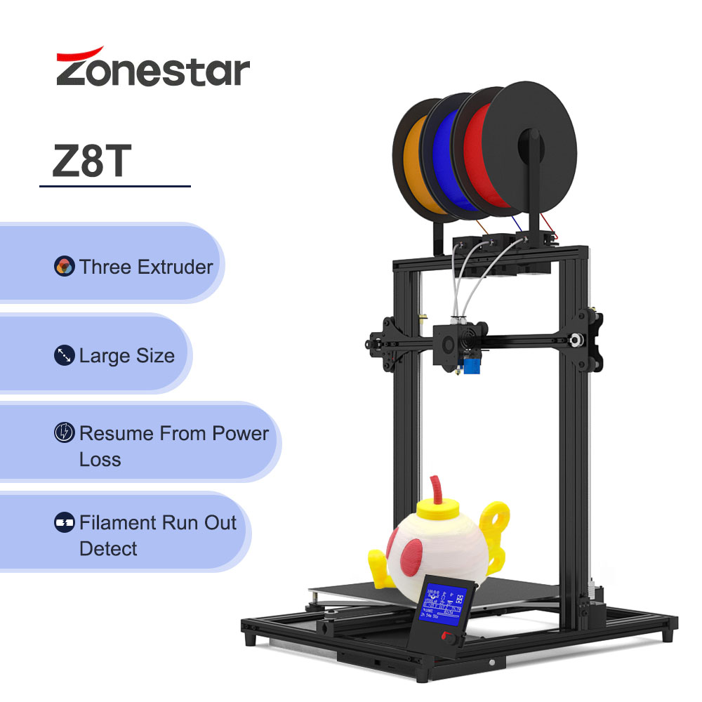 ZONESTAR 3 Color Large Size 3 Extruders 3-IN-1-OUT Mixing Color High Precision - Jet Black EU Plug