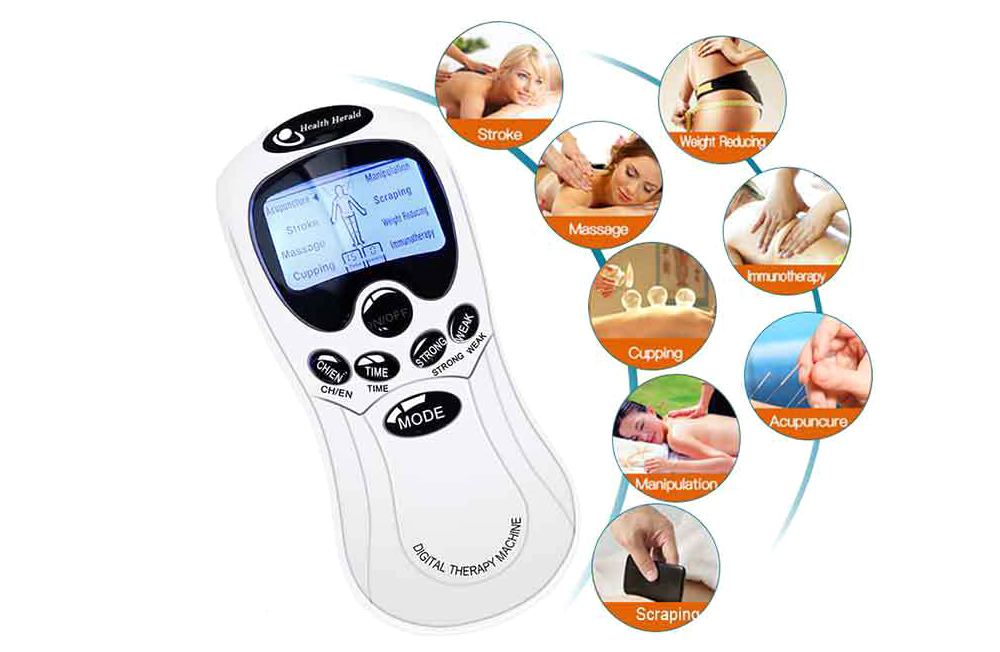 Digital Massager Double Hole Mini Massager Power Pulse Impact Treatment Instrument - White EU Plug