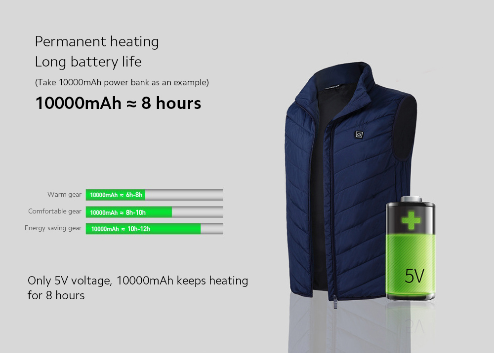 USB Charged Smart Vest Permanent heating