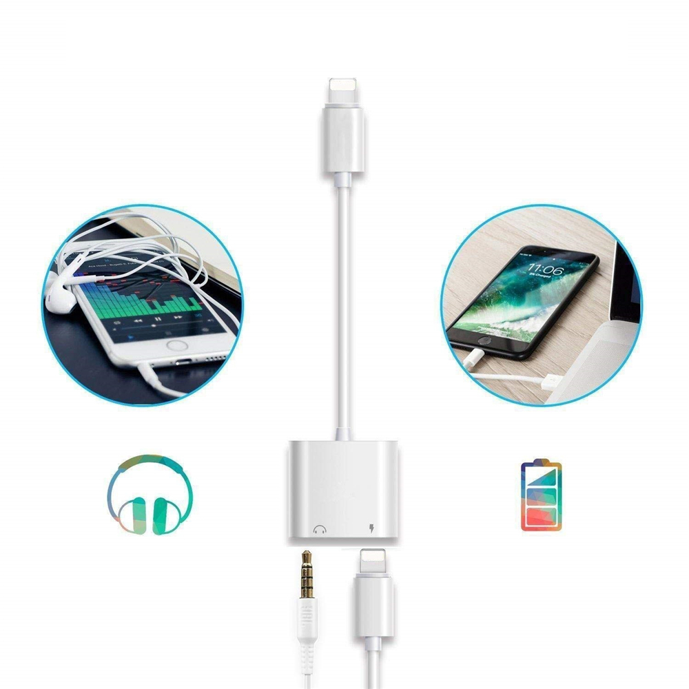 2 in 1 3.5 mm Headphone Jack Adapter Charger Splitter for iPhone12 /11 /8 /XR /X - White