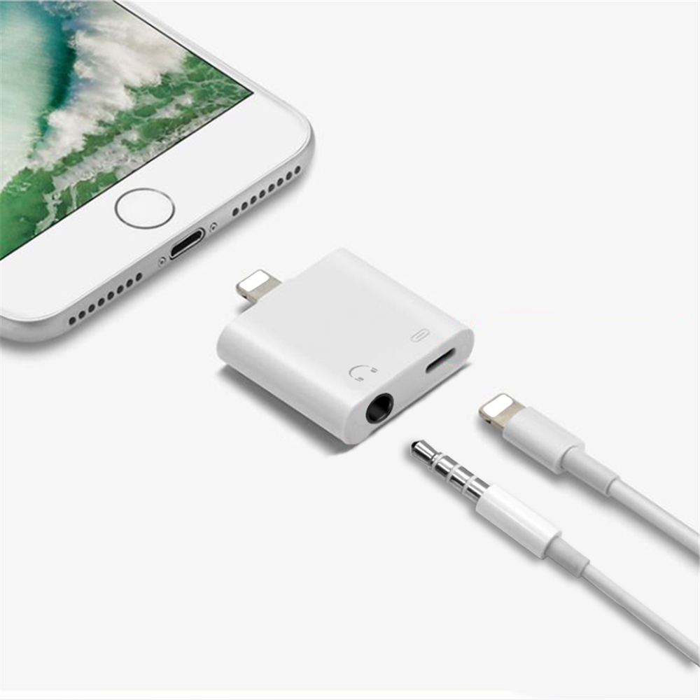 2 in 1 3.5 mm Headphone Jack + Chargering Adapter for iPhone12 /12 Pro/11/XR/XS - White
