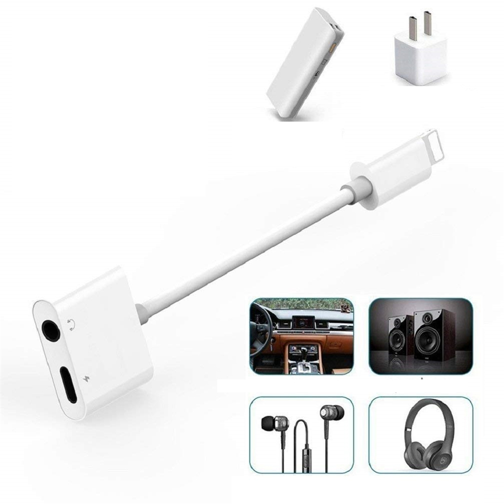 3.5 mm Headphone Jack + Chargering Adapter for iPhone12 /12 Pro/11/XR/XS 2pcs - White
