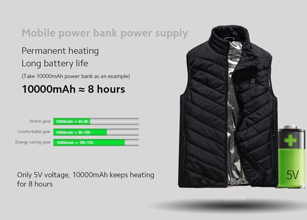 USB Charged Vest Permanent heating