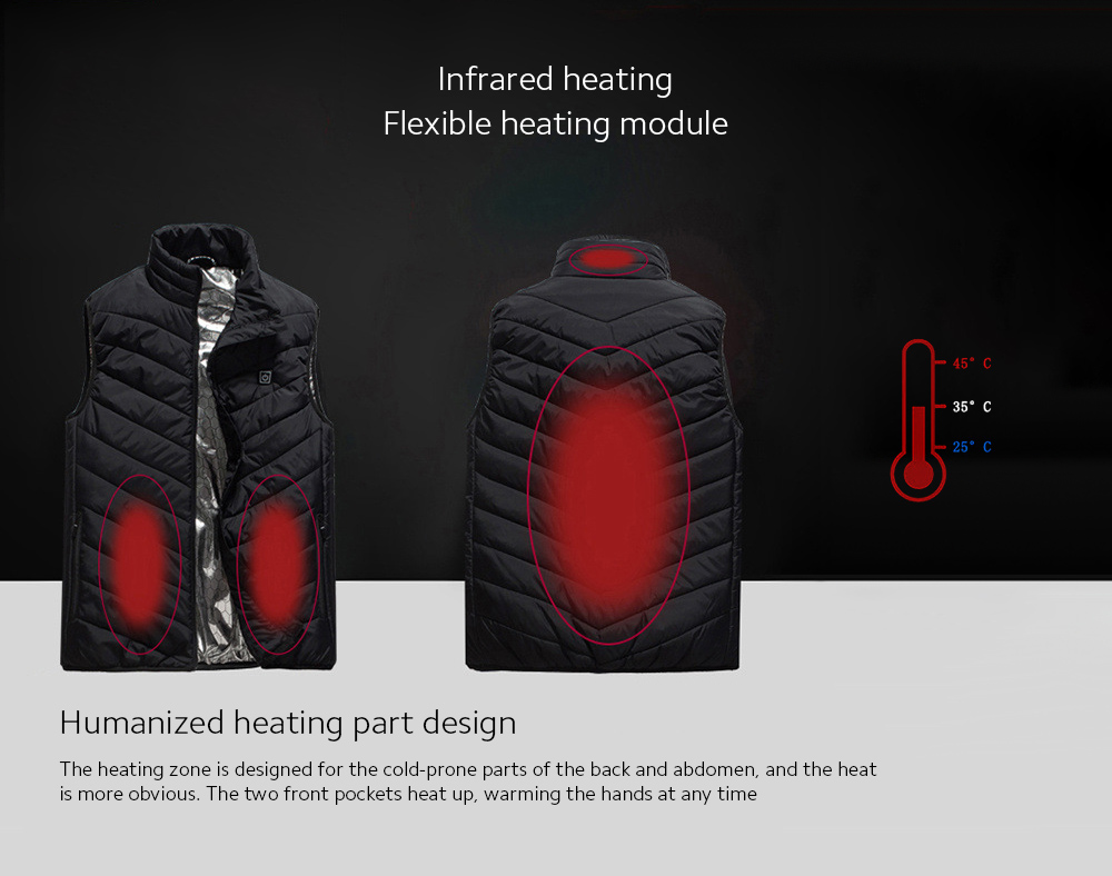 USB Charged Vest Humanized heating part design