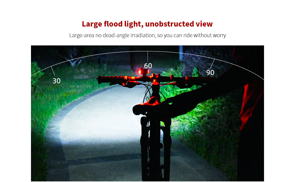 Bike Light Multifunction Code Table Lamp 100° large flood light, unobstructed view