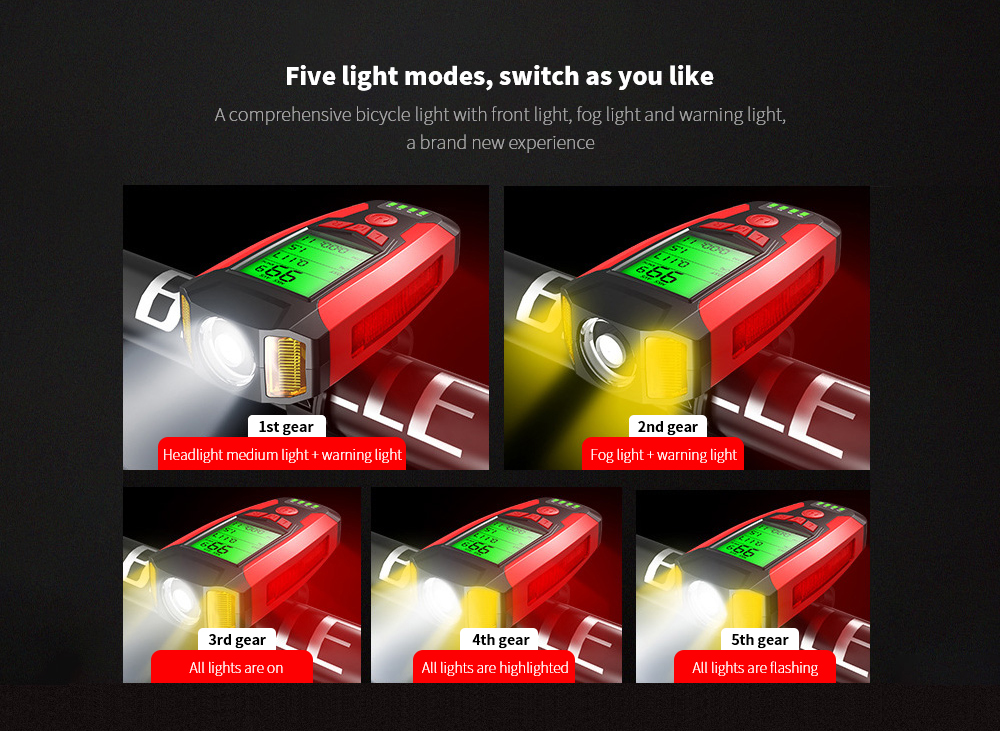 Bike Light Multifunction Code Table Lamp Five light modes, switch as you like