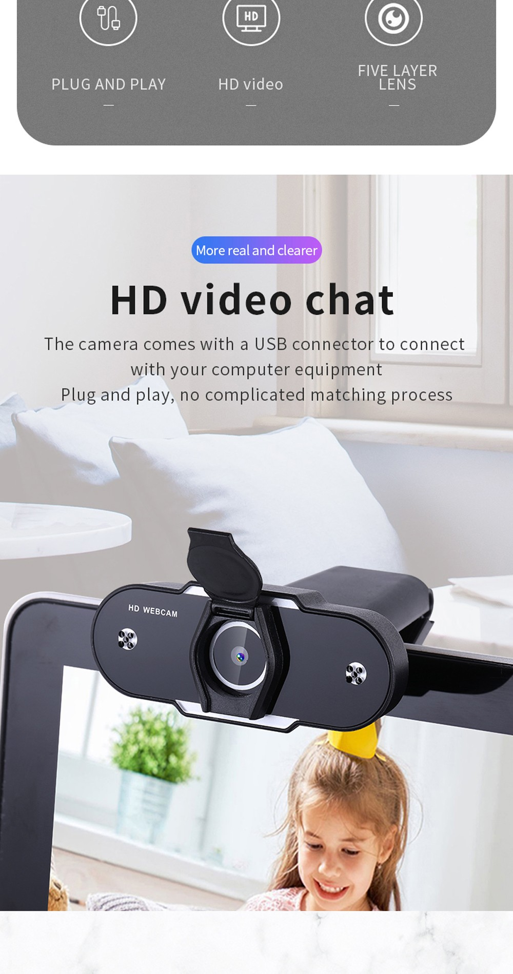 2K 1080P PC Camera Webcam with Microphone - Black With Cover 1080P 1 Million Pixels