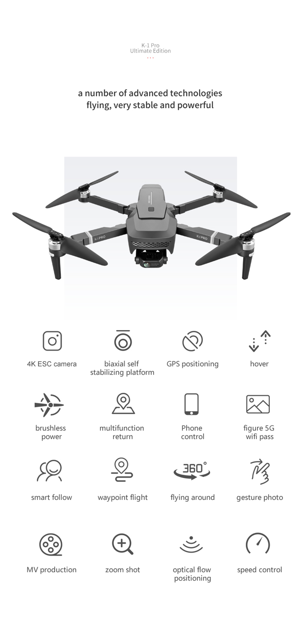 VISUO K1 Pro Quadcopter Drone - Black One Battery