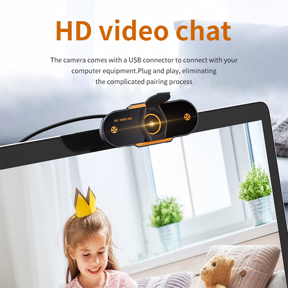 HC-36 Webcam Computer USB Network Camera HD with Microphone Live Free Drive Video Online Conference Teaching Noise Reduction - Black 480P