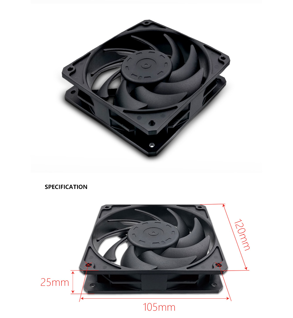 F120-3 Cooling Fan Computer Box 12CM Big Air Volume Mute Desktop Water Cooling Fan - White F120 2400RPM
