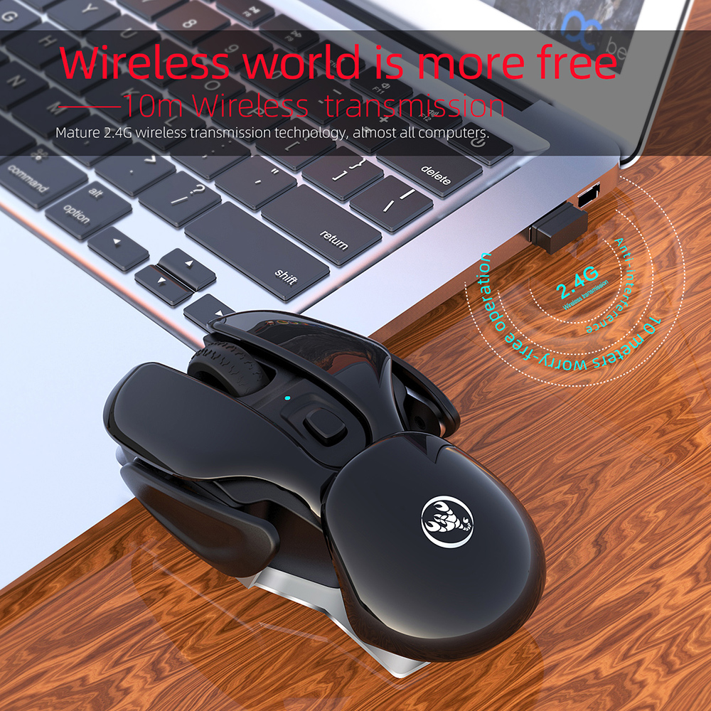 HXSJ T37 Mouse Mute Wireless Gameing Mouse 2.4GHz Adjustable Industry Engineering Rechargeable 1600 DPI Mouse 5.0 - Pink