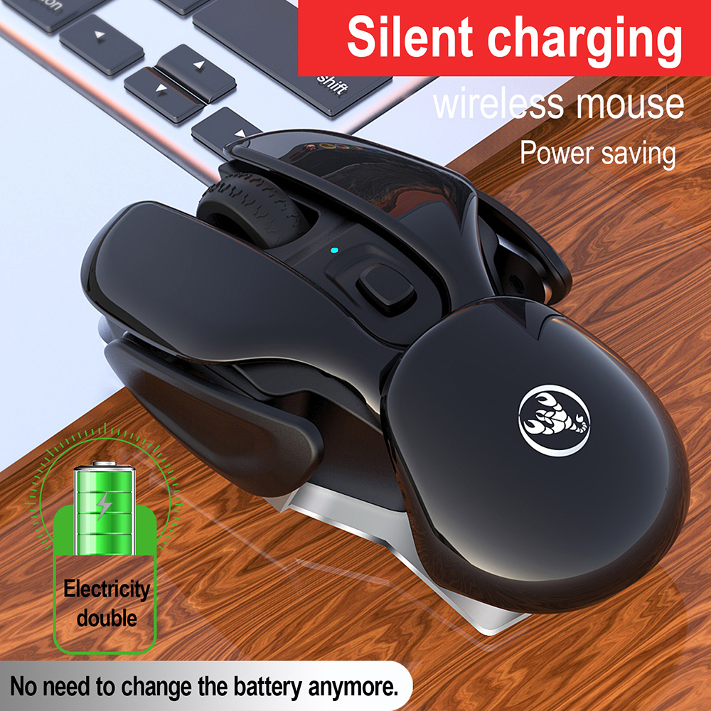 HXSJ T37 Mouse Mute Wireless Gameing Mouse 2.4GHz Adjustable Industry Engineering Rechargeable 1600 DPI Mouse 5.0 - Black