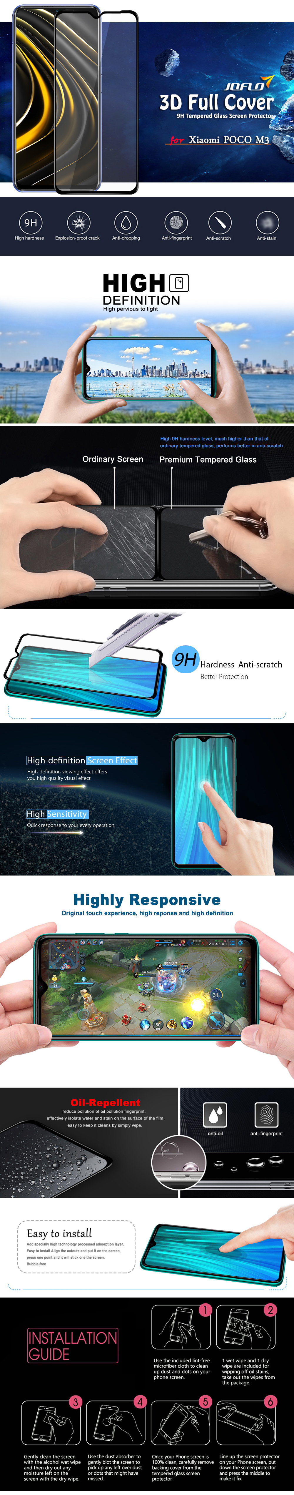 Full Screen Tempered Glass Protector Film for Xiaomi POCO M3 - Black 1pc