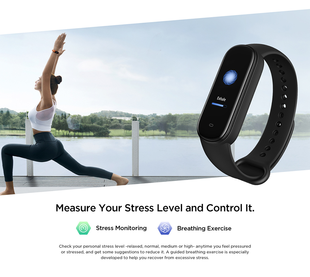 Amazfit Band 5 Smart Wristband Built-in Alexa 1.1 Inch AMOLED Display Blood Oxygen Monitor 11 Sport Modes Tracker BT5.0 Smart Watch Global Version - Black