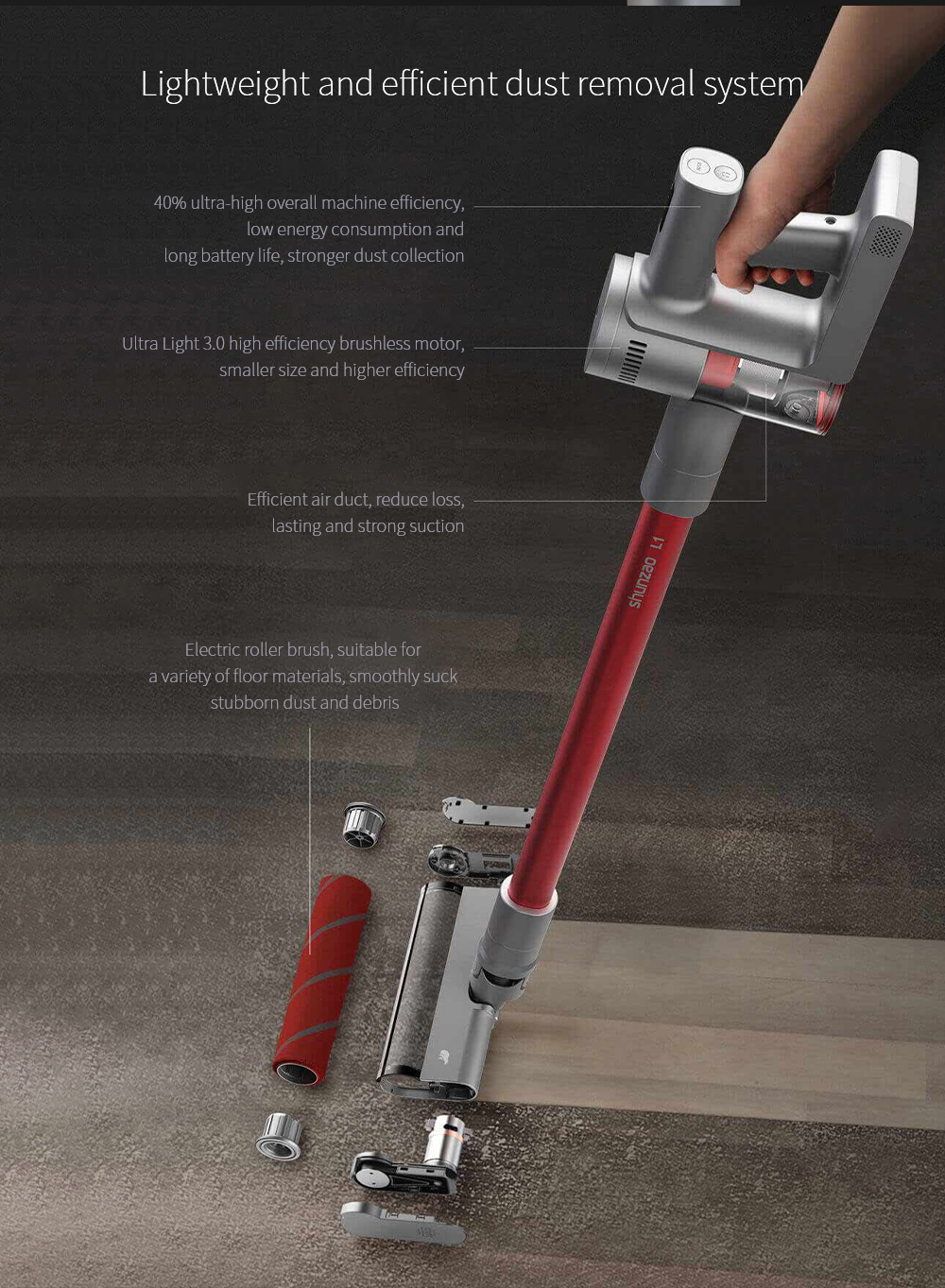 Shun Zao L1 Vacuum Cleaner Lightweight and efficient dust removal system