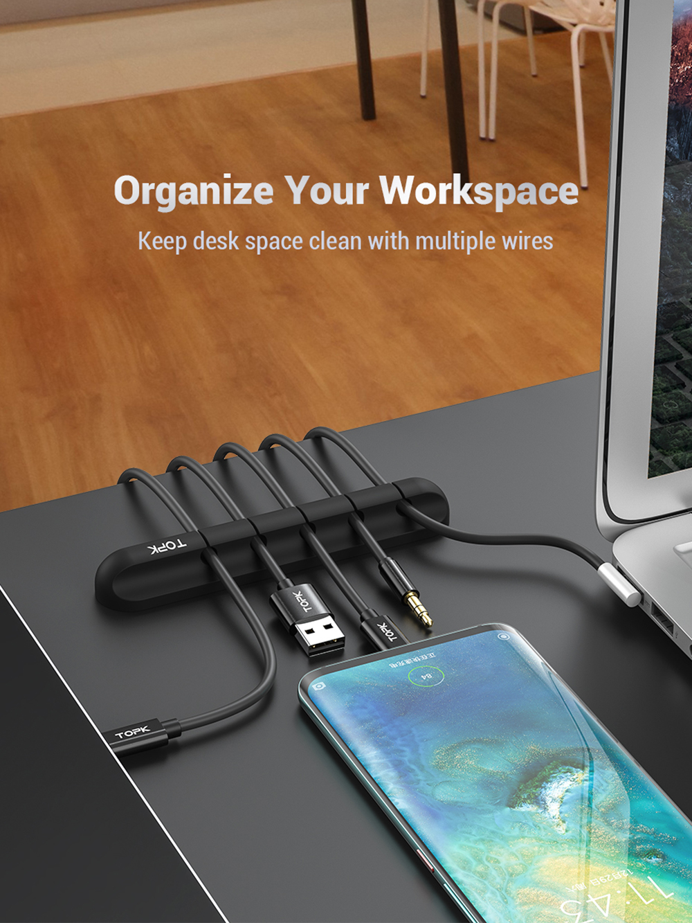 L16 Cable Organizer - Black Five Clips 1PC