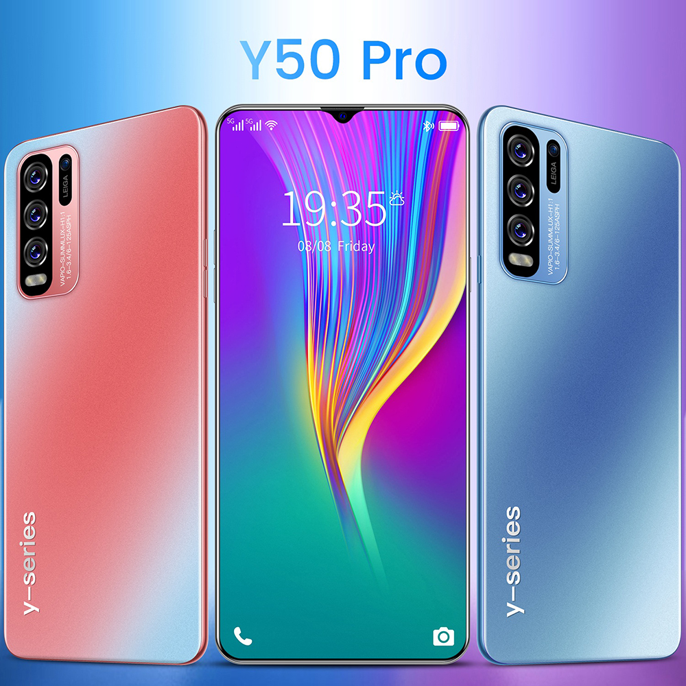 Y50 Pro 3G Smartphone MTK6580P 6.8 Inch 2GB RAM 16GB ROM Android 10.0 5MP 13MP Cameras 4800mAh Battery - Light Blue UK Plug