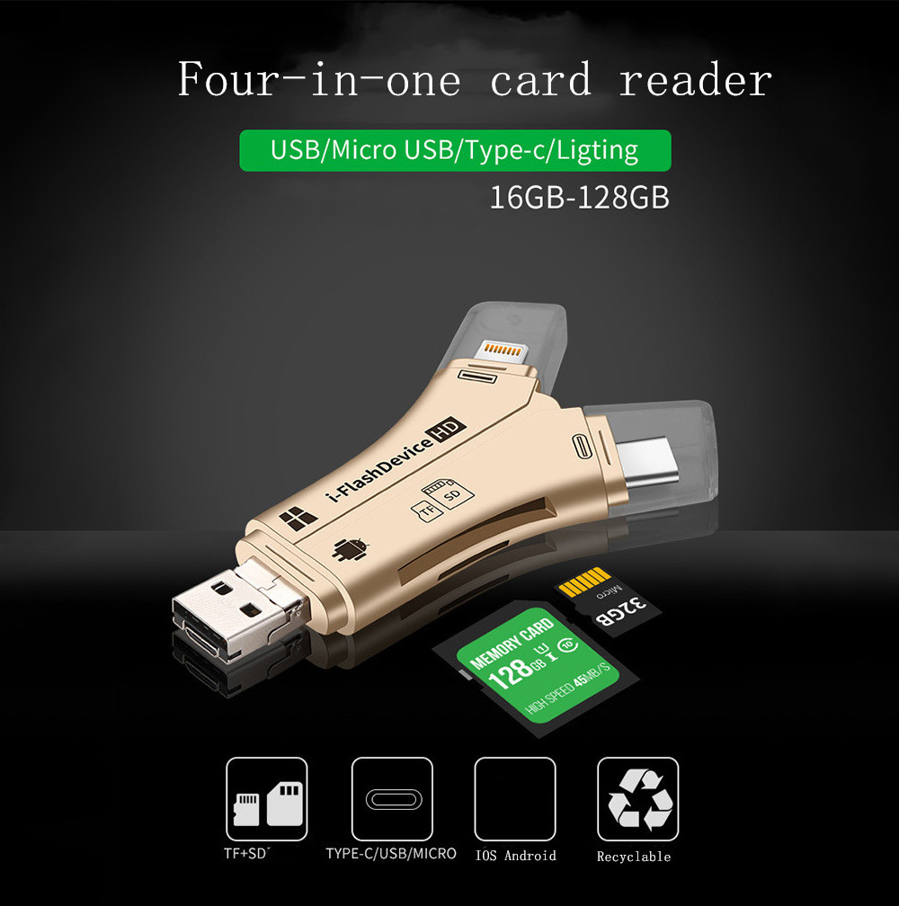 Memory Card Reader 4-in-1 Plug and Play Multi-function Photo Card Reader Mobile Phone TF SD Card Universal Applicable for iPad 4 - White
