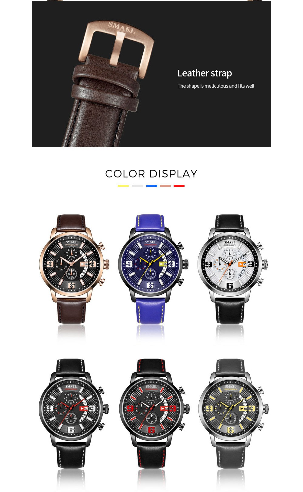 SMAEL Leather Waterproof Watch color