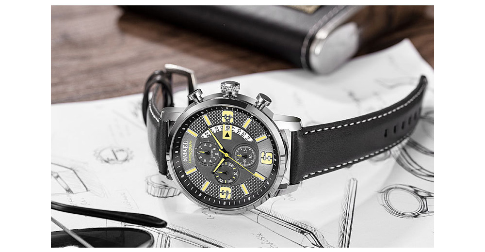 SMAEL Leather Waterproof Watch show