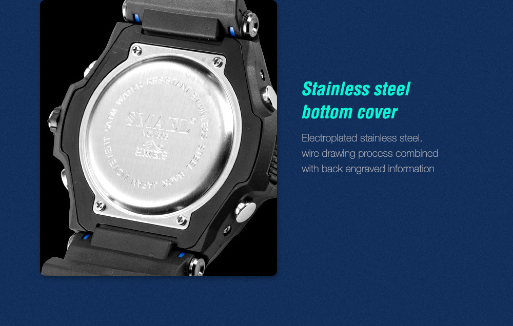 SMAEL 1805 Digital Watch Stainless steel bottom cover