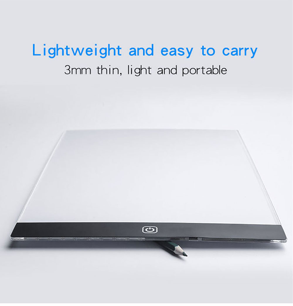 Three Gears Dimmable LED Drawing Pad - Transparent A5 Not Dimming + USB Cable