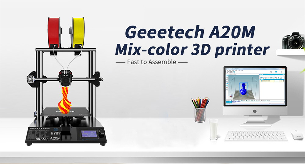 Geeetech A20M Two-color FDM 3D Printer - White US Standard