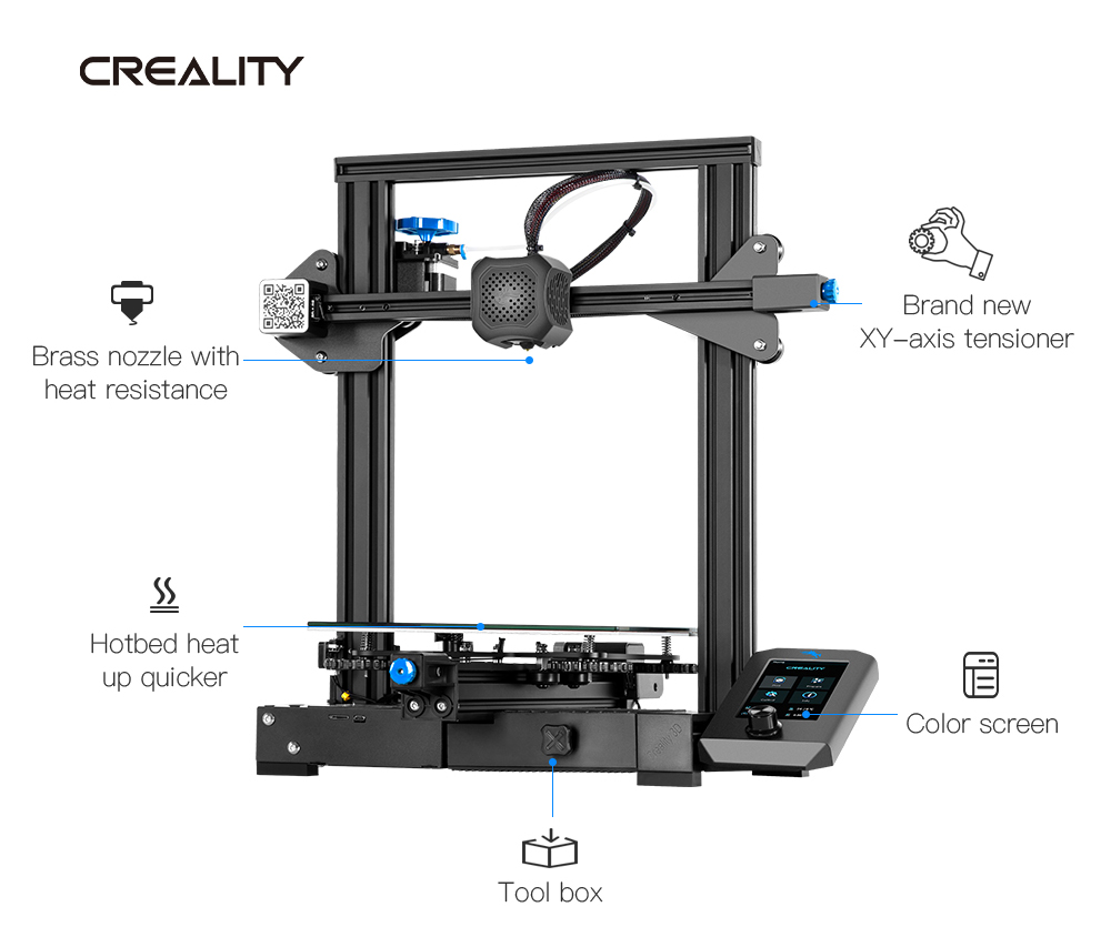 Creality Ender-3 V2 Upgraded DIY 3D Printer Kit - Black Ender-3 V2 EU Plug