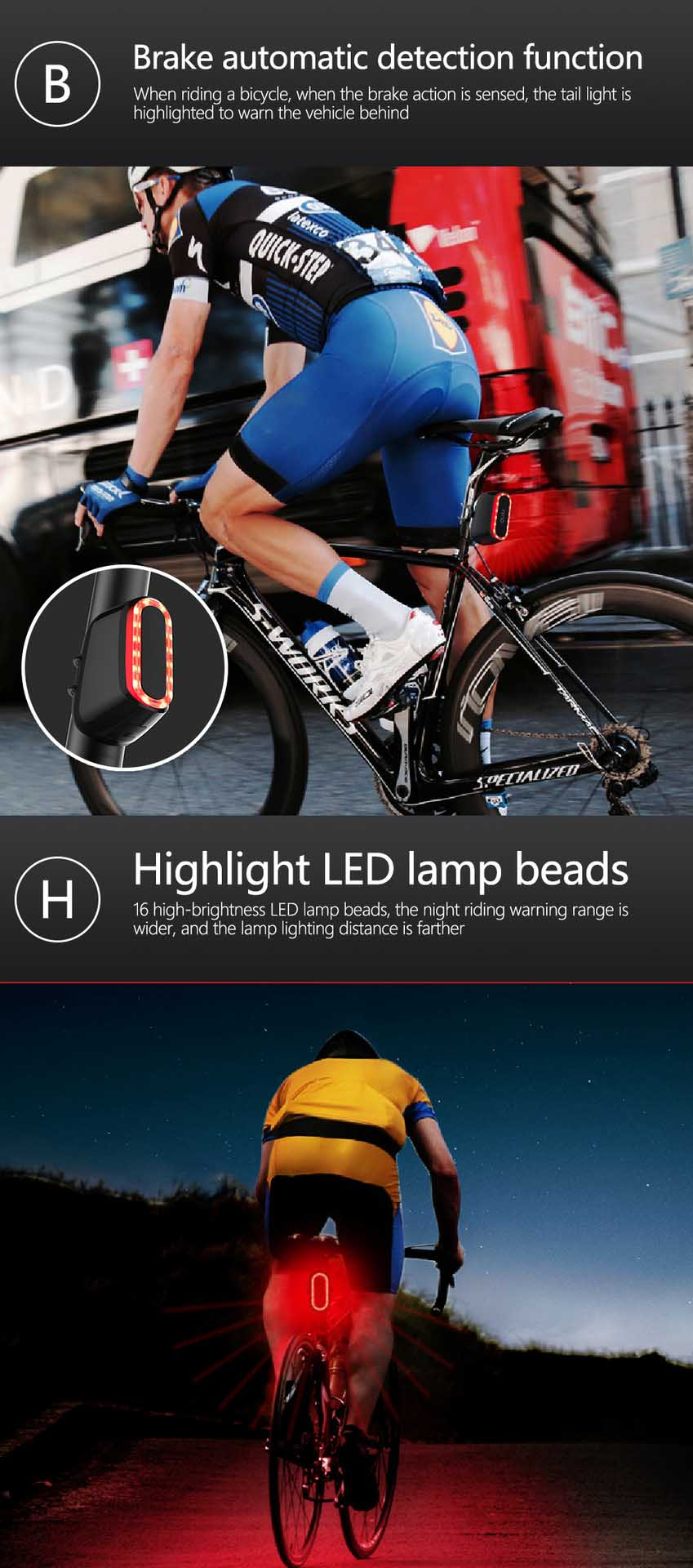 Bike Light LED Bicycle Taillight Brake automatic detection function