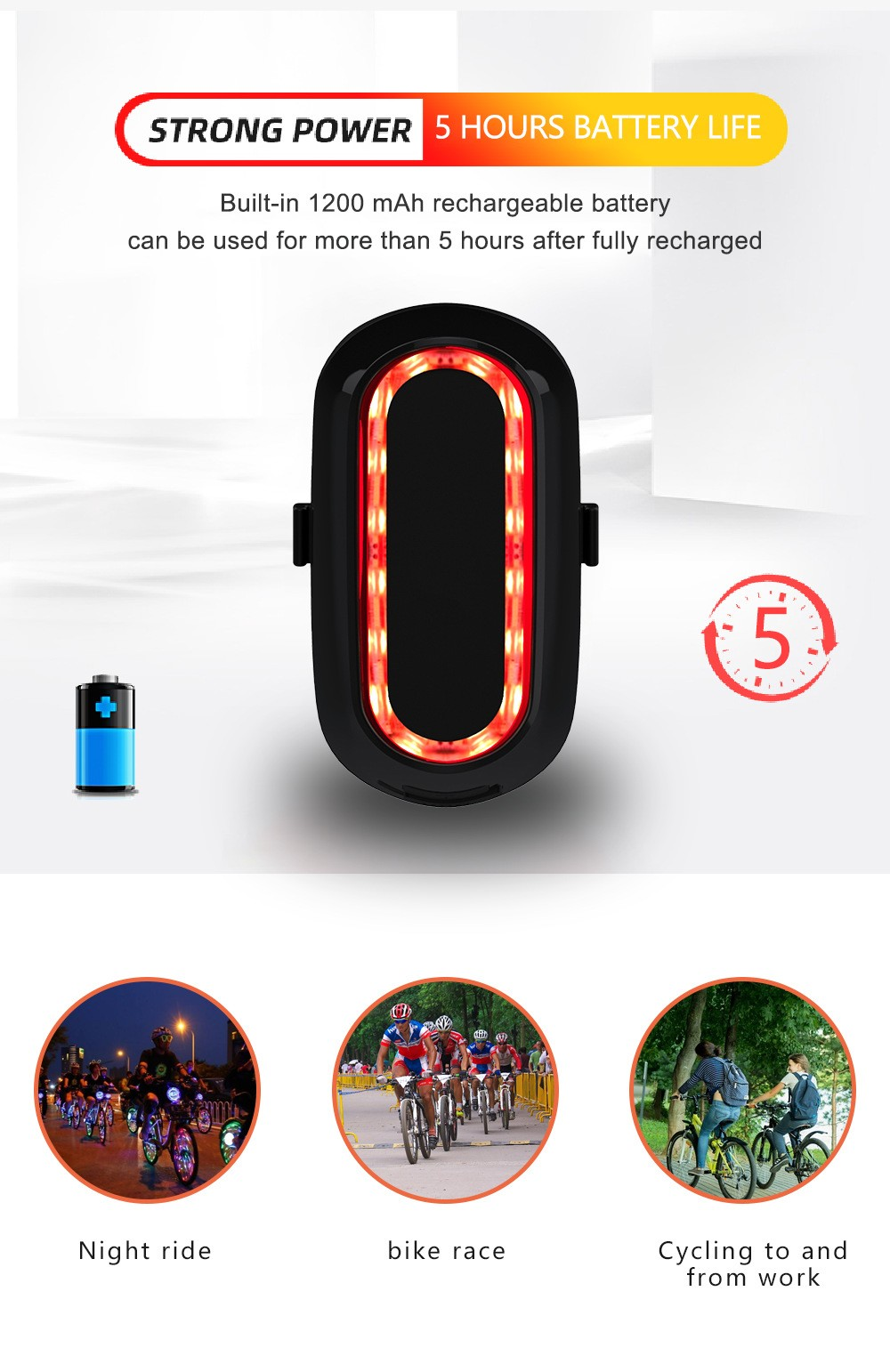Bike Light LED Bicycle Taillight Strong power