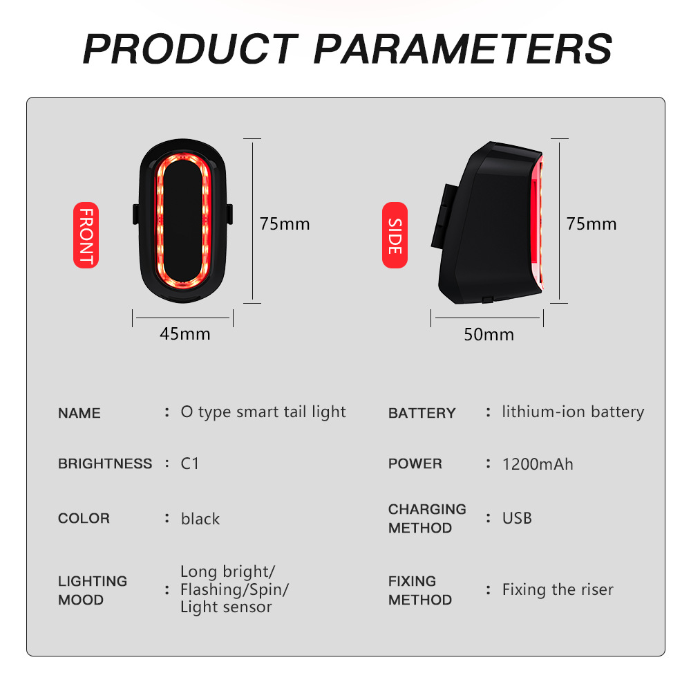 Bike Light LED Bicycle Taillight PARAMETERS