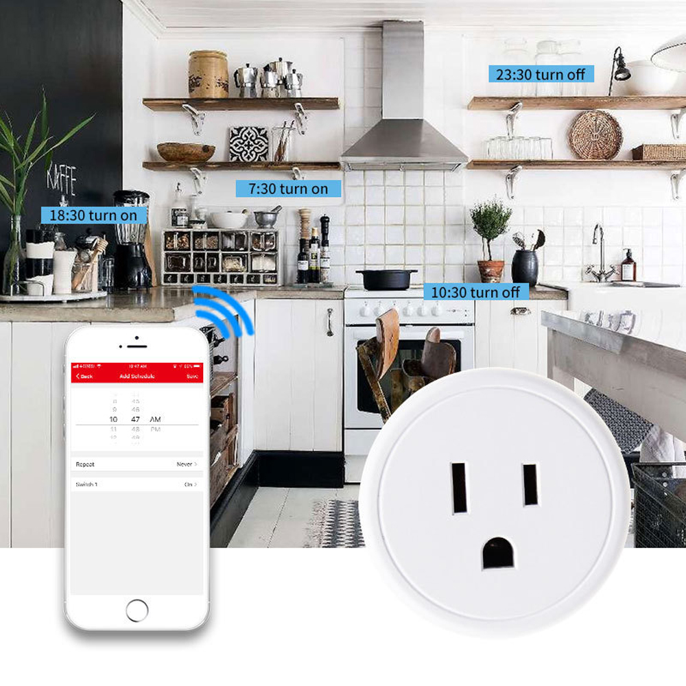 PW801US Multifunction WiFi Smart Wall Switch Socket Tuya Wireless Remote Control Socket US Plug ETL / FCC Certification - White