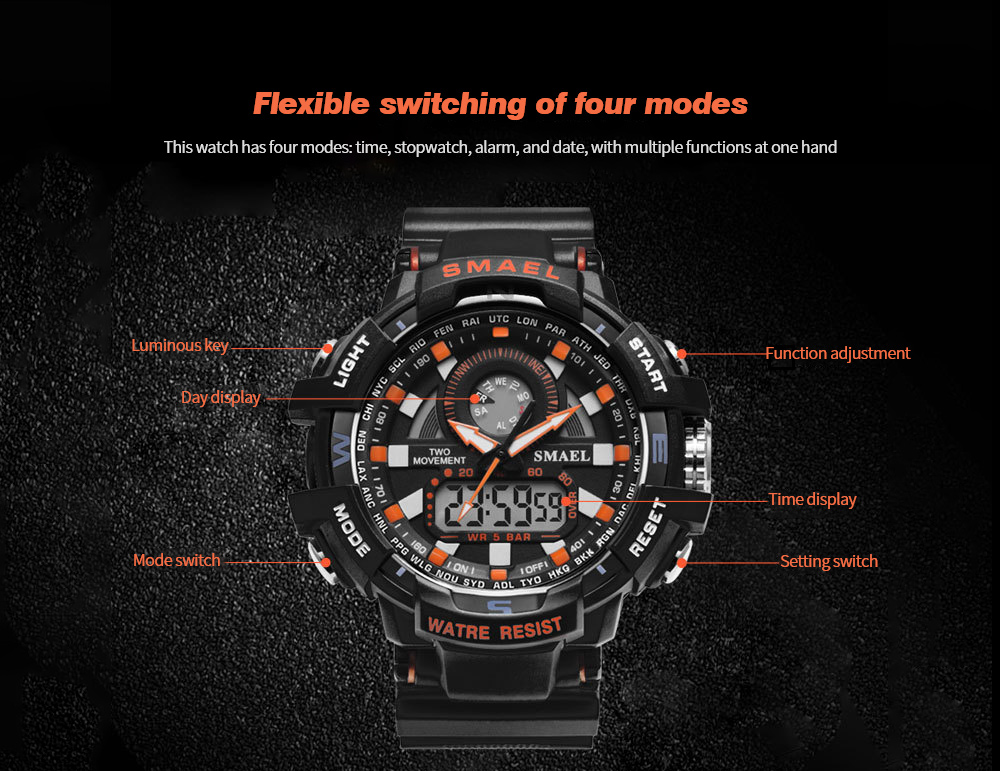 SMAEL Fashion Sports Outdoor Waterproof Multi-function Watch Flexible switching of four modes