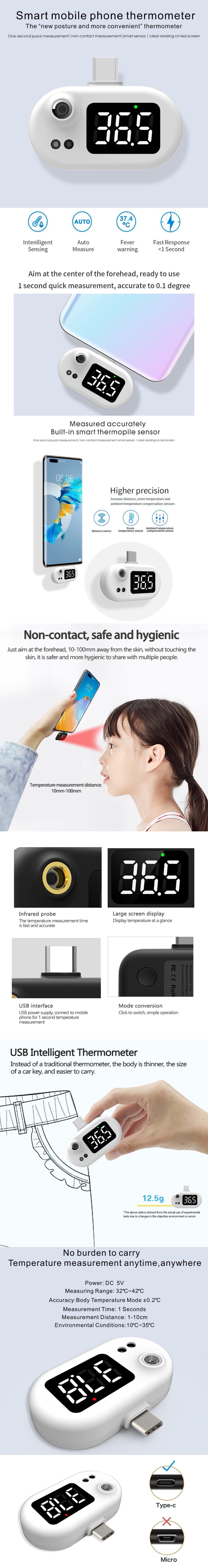 Non-contact Type Infrared USB Type-c Smart Thermometer for Xiaomi/Huawei/Samsung - White