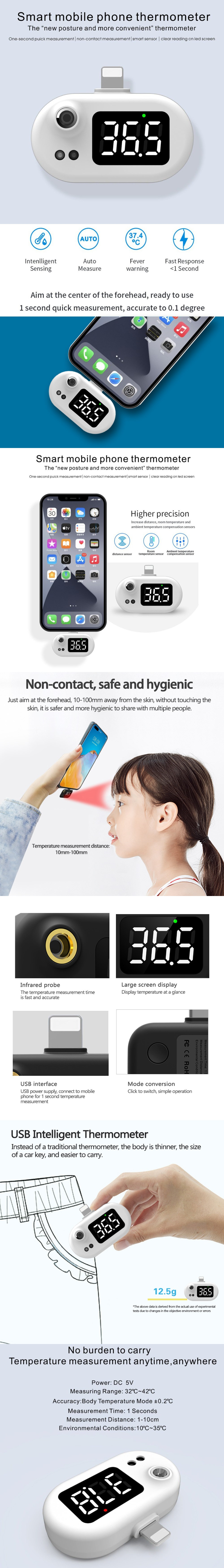 Non-contact Type Infrared USB Smart Thermometer for iphone 12 pro max / 11 / X - White