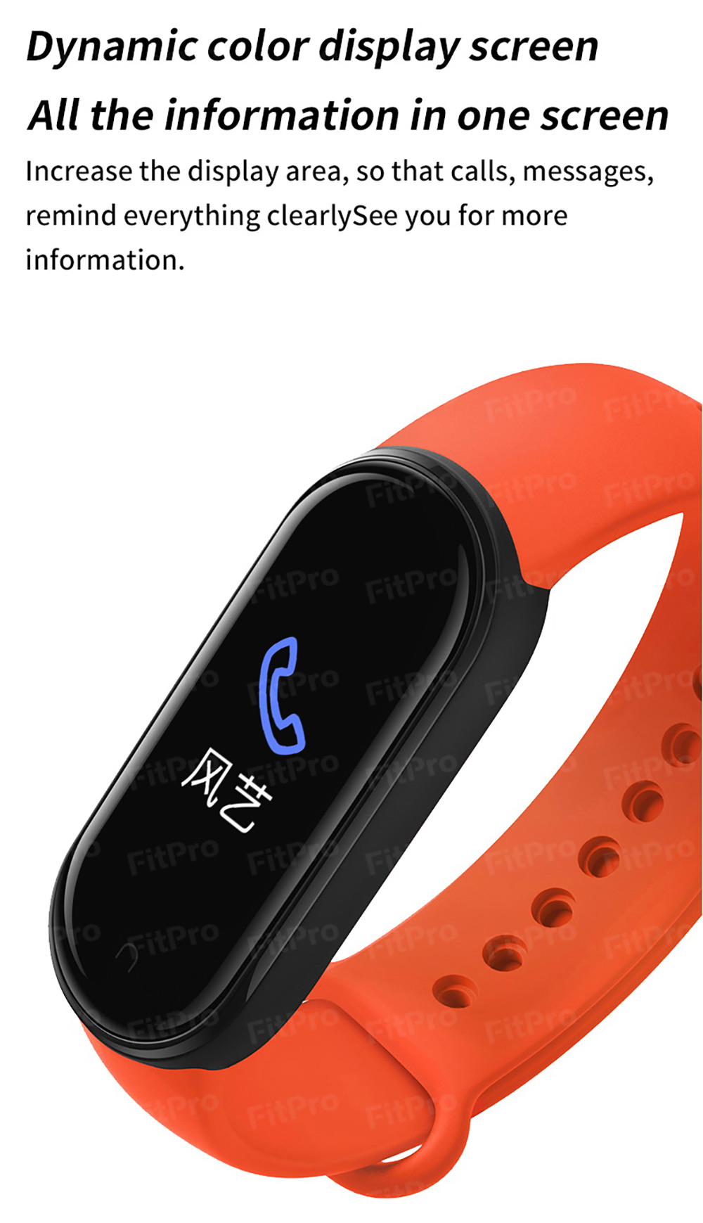 Gocomma M5 Smart Wristband Continuous Blood Pressure Oxygen Monitor Wristband Message App Push Fitness Tracker Color Screen - Black